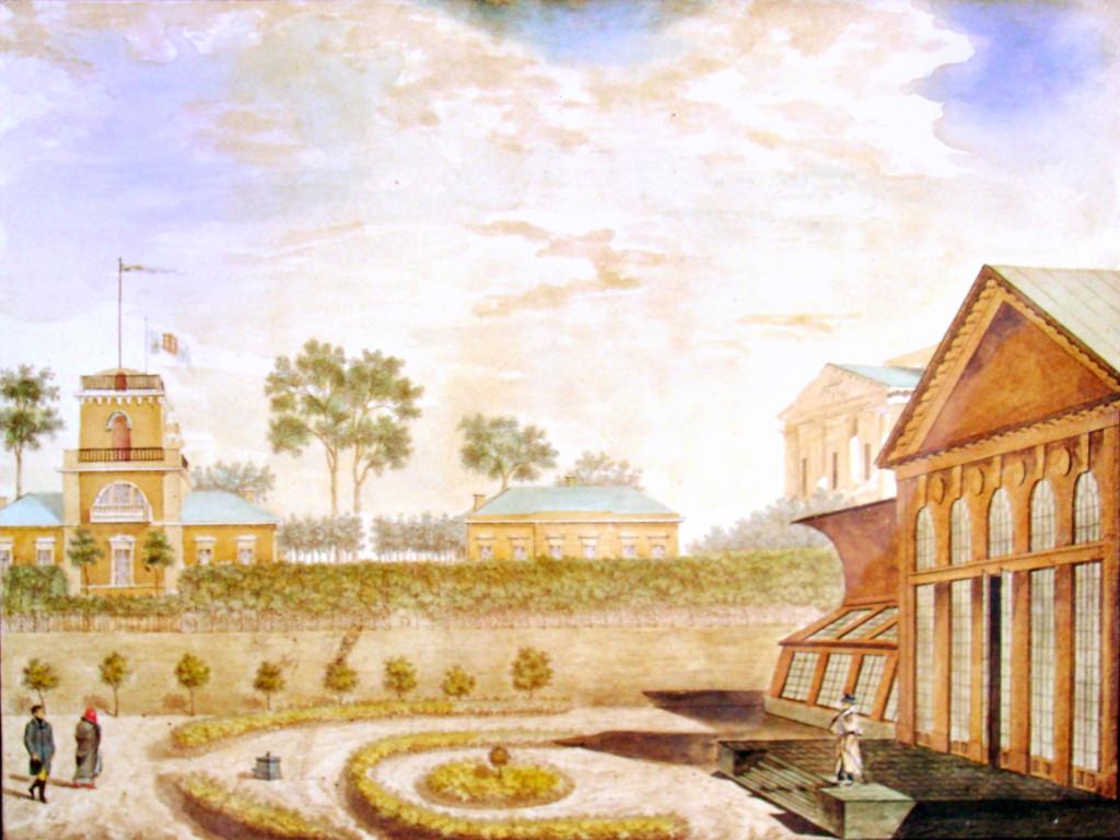 14. Вид флигелей с террасой от оранжереи во фруктовом саду. Р А Семенов 1823-го.