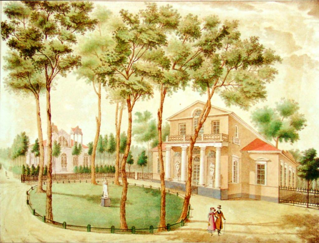 17. Вид деревянного дома в саду. Рис на кам А И. Семенов в 1823.