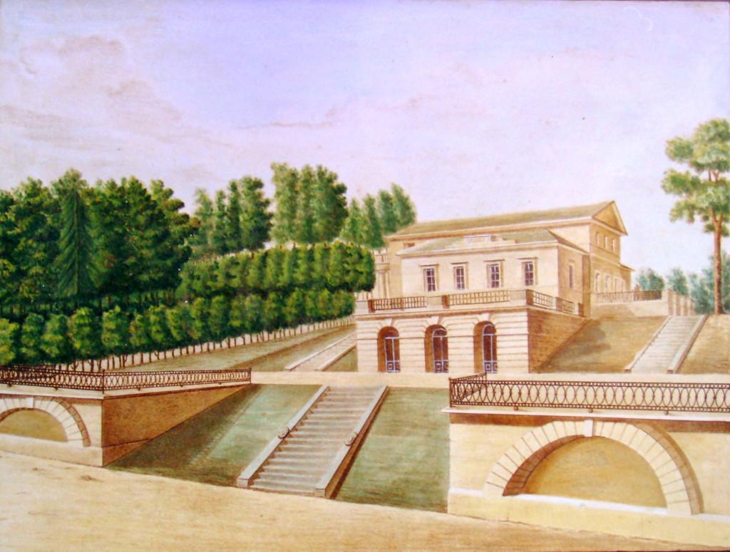 18. Вид от прудов Грузинского деревянного дома с гротами. Р на ка М. М. Зверев. 1823.