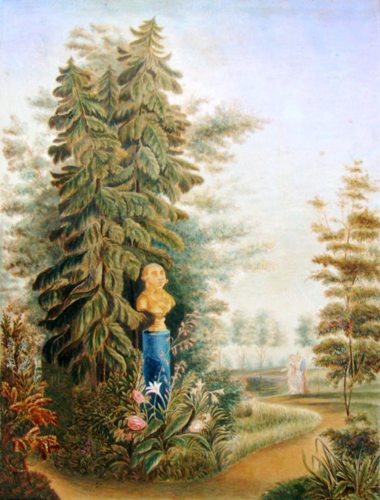 25. Бюст Императора Павла I-го в саду. Рис на кам Е. М. Павловский в 1823 г.