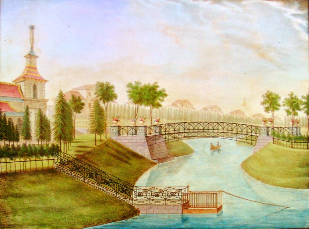 29. Вид чугунного Моста в саду. Р на кам А И. Семенов в 1823.