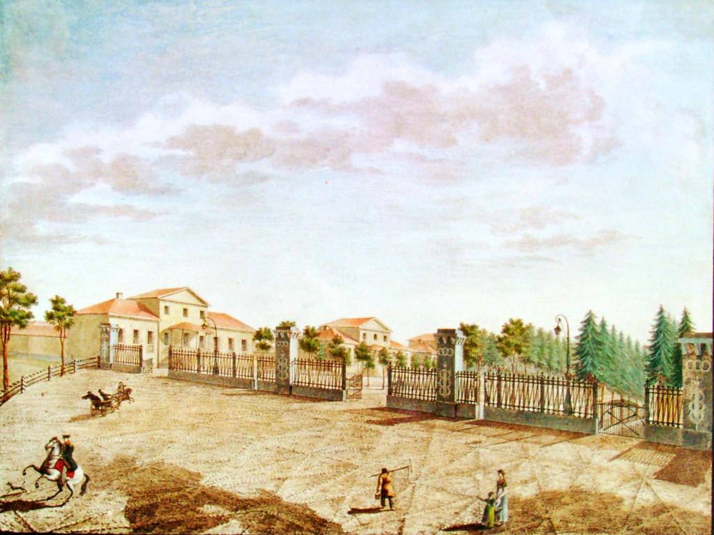 30. Вид площади с приезда в село Грузино по Тихвинской дороге. Р Ар Семенов в 1823 году.