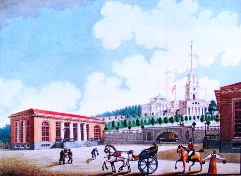 4. Вид Площади с приезда от реки Волхова в селе Грузино. Рисовал на камне Архитектор Семенов 1821 года.