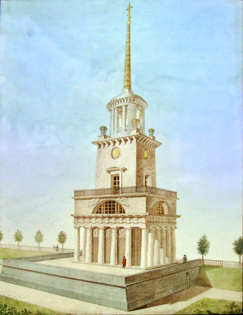 8. Вид Колокольни у Грузинского Собора внизу коей теплая Церковь. Ри на ка Архи Семенов 1822-го.